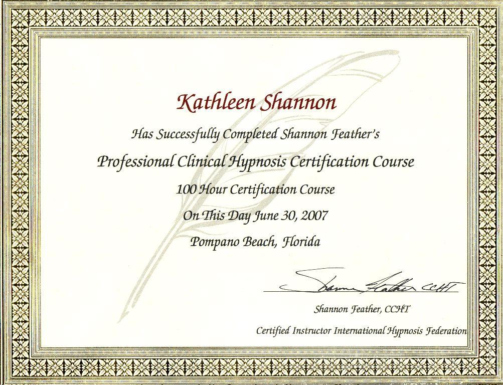 Certificates Kathleens Ministry